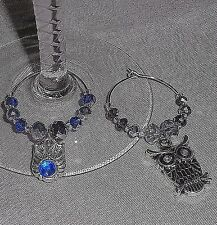 Mixed Rhinestone OWL Theme Charms & Crystals Wine Glass  Beverage Charms