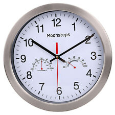 Wall Clock Modern Large Quiet Sweep Clock With Temperature Humidity 12""