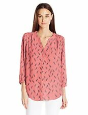 NYDJ Women's Petite 3/4 Sleeve Pintuck Blouse, New Wheat Toasted Apricot
