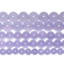 5 Strands Natural Purple Jade Smooth Round Gemstone Loose Spacer Beads 15""