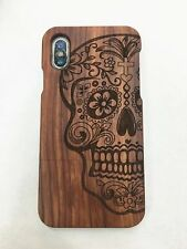 Real Natural Wood Bamboo Wooden Skull Hard Back Cover Case for Apple iPhone X