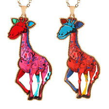 Women Multicolor Giraffe Crystal Rhinestone Pendant Long Sweater  Chain Necklace