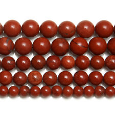 """5 Strands Natural Red Jasper Smooth Round Ball Gemstone Loose Spacer Beads 15"""""""