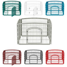 Indoor Dog Kennel Animal Cage Portable Pet Exercise Playpen Plastic W'Door H 24""