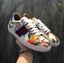 Men's flowered Print Hot  Genuine Leather Low Tops Sneaker Lace Up Shoes 40-44