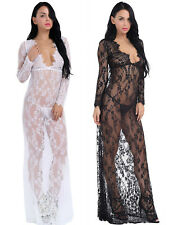 Sexy Women's Floral Lace Deep V-Neck Cocktail Night Club Ball Gown Long Dress