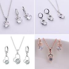 EP_ Zircon Pendant Necklace + Earrings Fashion Jewelry Set Women Gift Exquisite