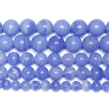 2 Strand Blue Lace Agate Chalcedony Smooth Round Gemstone Loose Spacer Beads 15""