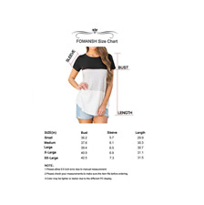 FOMANSH Women's Tops Short Sleeve Round Neck Striped Color Block T-Shirts Casual