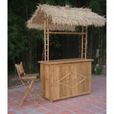 Bamboo54 3 pc. Thatch Roof Tiki Bar with 2 Folding Chairs