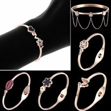 Fashion Women Flower Rose Gold Plated CZ Cuff Bangle Love Heart Charm Bracelet