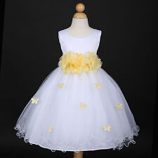 White/Yellow Belle Holiday Party Wedding Flower Girl Dress 6M 12M 18M 2 4 6 8 10