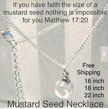 Confirmation Jewelry Religious Girl Women Gift Mustard Seed Necklace Globe