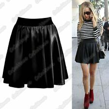 New Ladies Faux Leather PVC Wet Look High Waist Skater Flared Mini Party Skirt