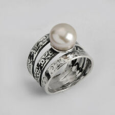 New SHABLOOL Ring White Freshwater Pearl Jewelry 925 Sterling Silver
