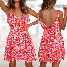 UK Womens Floral Novelty Ladies Strappy Backless Frock Novelty Midi Sun Dress