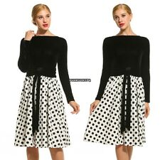 New Women Elegant Polka Dot Vintage Style Patchwork Pleated Dress DKVP01