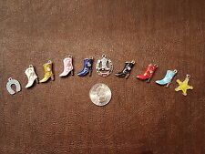 Enamel and Rhinestone Cowboy Boot Dangle Charms - Star, Horseshoe Charms
