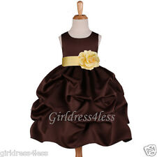 BROWN/YELLOW PICK UP WEDDING FLOWER GIRL DRESS 6M 9M 12M 18M 2/2T 4/4T 6 8 10 12