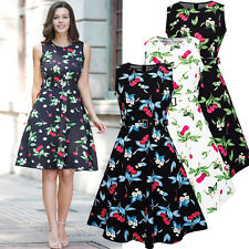 Vintage Women's 50s Rockabilly Floral Casual Party Evening Cocktail Swing Dress