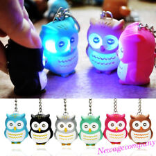 Funny LED Light 3D Cartoon Owl Keyring Sound Hooting Key Chain Key Finder Gift
