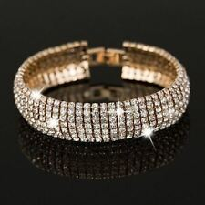 Luxury Crystal Gold and Silver Plated Link Bracelet Bangle Fashion Full Rhinesto