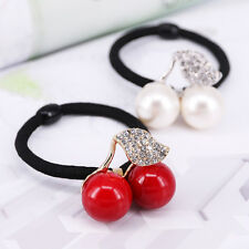 Women Jewelry Crystal Leaf Cherry Rubber Band Hair Rope Headwear Hair Band Gift