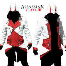Assassins creed 3 cosplay costume jacket adult Collection Polyester White Red