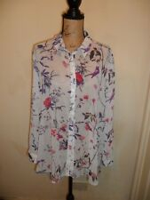Ladies Top Blouse Ivory with Abstract Bird Print Chiffon Size 18 Ex Con