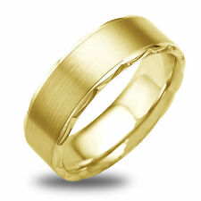 14K-18K White Or Yellow Gold Diamond Cut Side W/ Satin Finish Mens Wedding Band