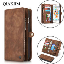Luxury Retro Leather Flip Card Slot Wallet Removable Magnetic Case For iPhone
