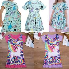 Kids Baby Girls Toddler Short Sleeve Summer Unicorn Tutu Princess Party Dresses