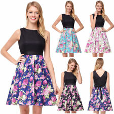 50s Rockabilly Pinup Party Cocktail Prom Womens Vintage Floral A Line Mini Dress