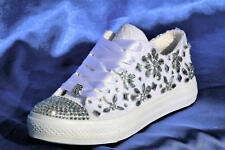 White Wedding sneakers with rhinestones, Lace Bridal trainers for bride bling