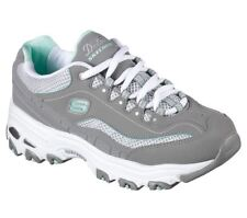 WOMEN SKECHERS MEMORY FOAM AIR COOLED LACE UP GREY WHITE DLITES SNEAKERS 11860
