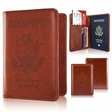 Passport Holder Cover Travel Leather RFID Blocking Case Wallet