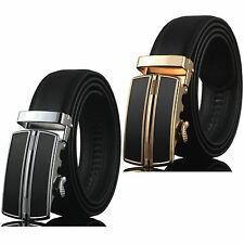Men Genuine Leather Automatic Aolly Buckle Black Waist Strap Belt Waistband New