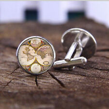 Vintage Map Plated Cuff Links Classic Men's Shirt Cufflinks Casual Accessories