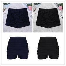 Women Shorts High Waisted Retro Swim Bikini Swimwear Short Brief Bathing Bottoms