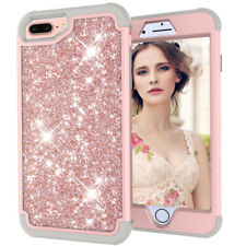 Fr iPhone X XS 8 Plus Luxury Hybrid Bling Glitter Rubber Protective Case Cover