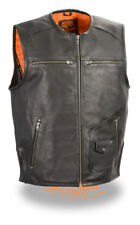 Milwaukee Leather Mens Black Leather Vest Zipper Front w/ Side Stretch - MLM3570