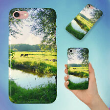 LANDSCAPE WATER MEADOW GREEN HARD BACK CASE FOR APPLE IPHONE PHONE