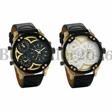 Military Three Time Zone Dial Watches Quartz Analog Men Leather Band Wrist Watch