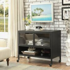 Furniture of America Travola TV Stand with Glass Doors - Sand Black