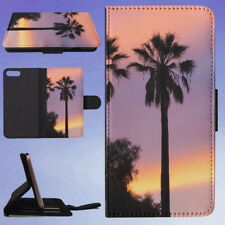 THREE PALM TREES SUNSET FLIP WALLET CASE FOR APPLE IPHONE PHONES
