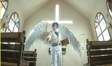 White Cosplay Angel Wings Shows Festivals Black , Red Angel Feather Wings