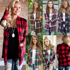 Women's Long Sleeve Casual Cardigan Plaid Check Jacket Coat Loose Tops Outwear