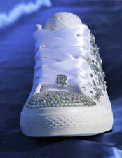White Wedding sneakers Bridal trainers for bride Rhinestone crystal tennis shoes
