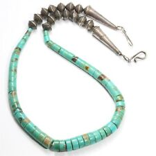 Vintage Navajo Sterling Silver Graduated Turquoise Heishi Bench Bead Necklace