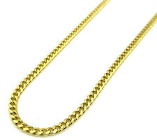 """Mens Womens 10K Yellow Gold 2.5MM Cuban Curb Link Chain Necklace 18""""-24"""""""